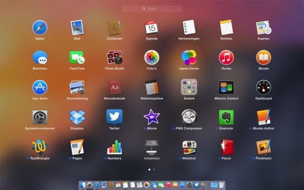Het launchpad in OS X