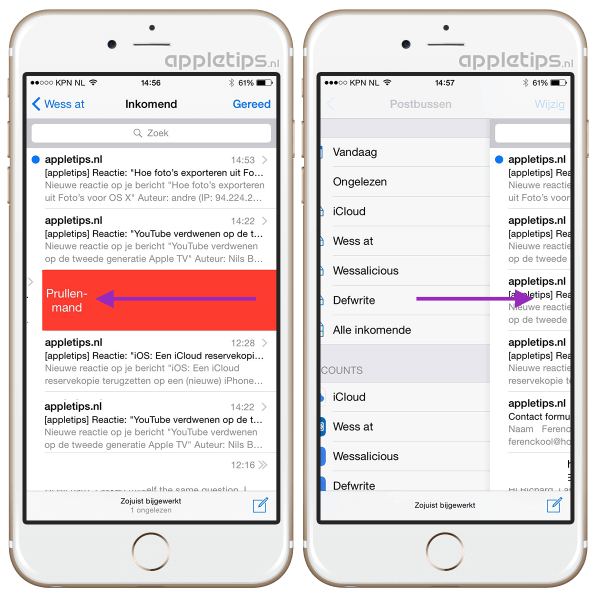 mail overzicht in iOS