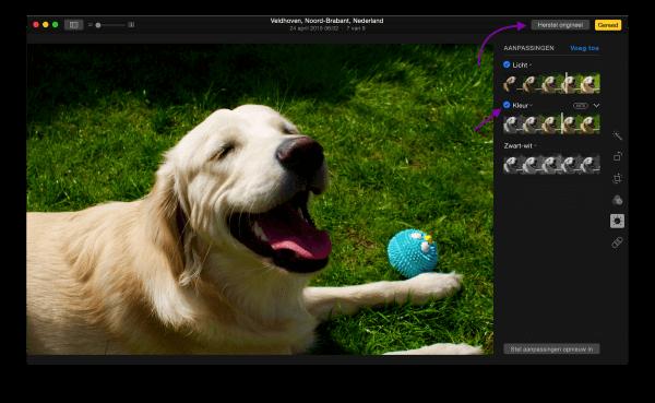 bewerkingsopties in foto's voor OS X