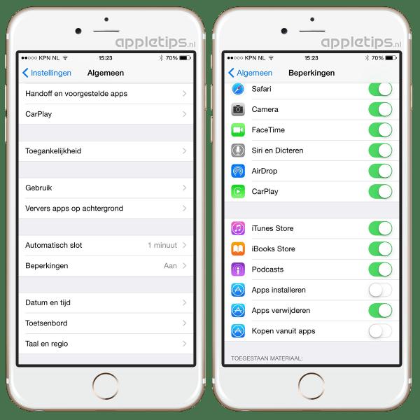 beperkingen menu in iOS