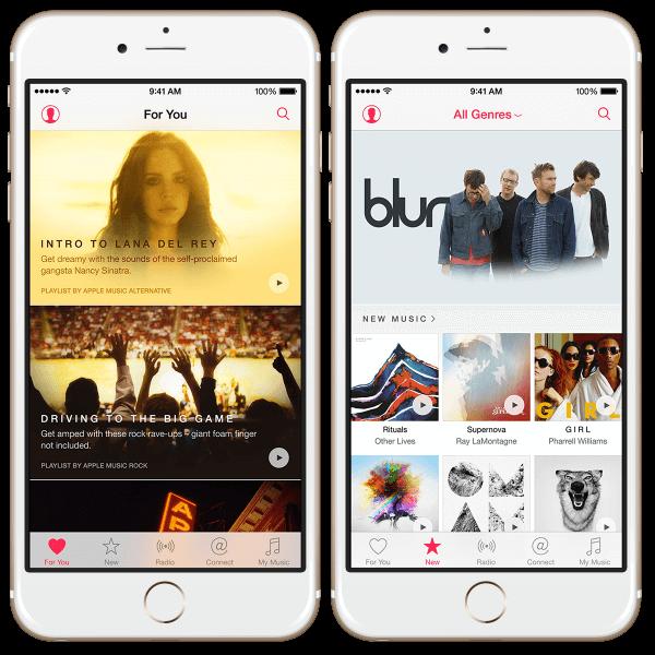 Muziek applicatie toont Apple Music