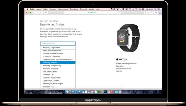 Apple watch reserveren in het buitenkand