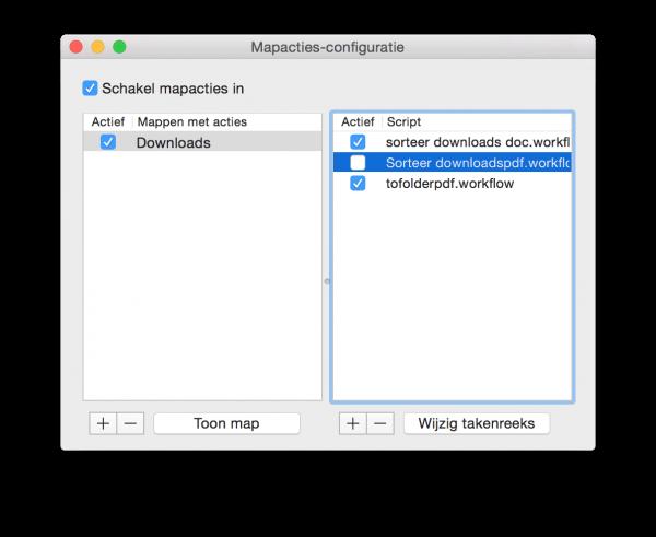 Mapacties-configuratie