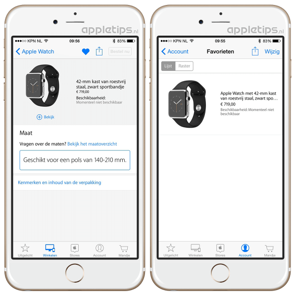 Apple Store applicatie met Apple Watch