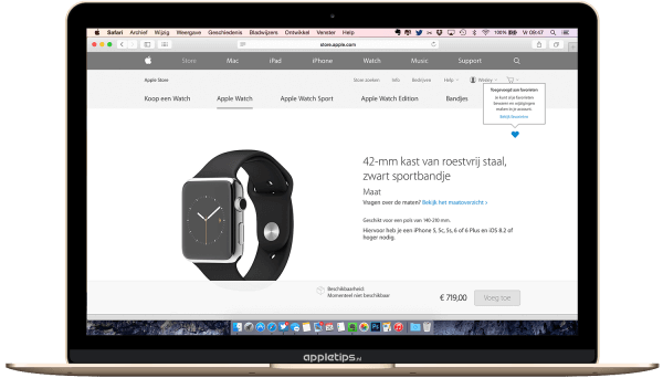 Apple watch markeren als favoriet