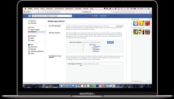 Personen blokkeren op facebook website