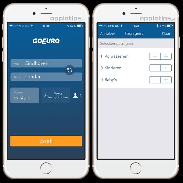 GoEuro applicatie voor iOS