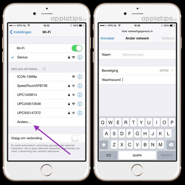 verborgen netwerken iOS