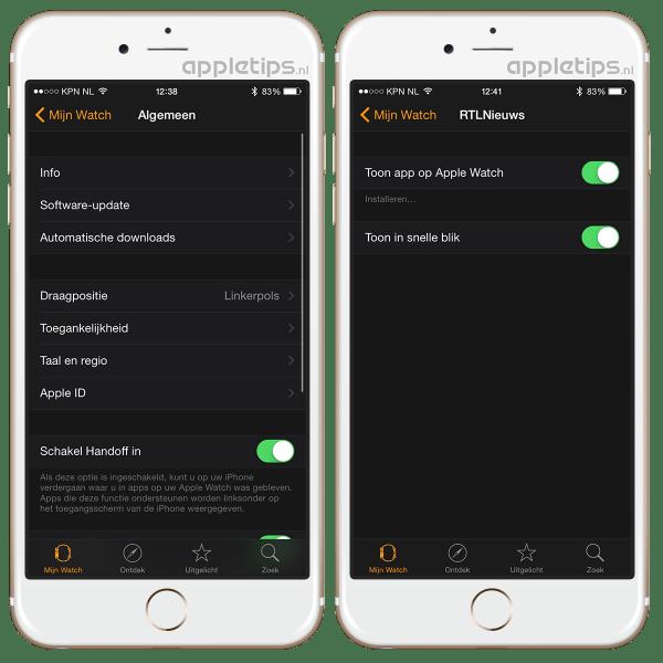 Apple Watch instellingen via iPhone app