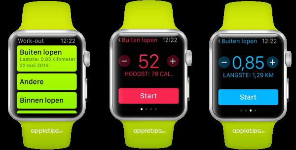 Overzicht van de work-out app