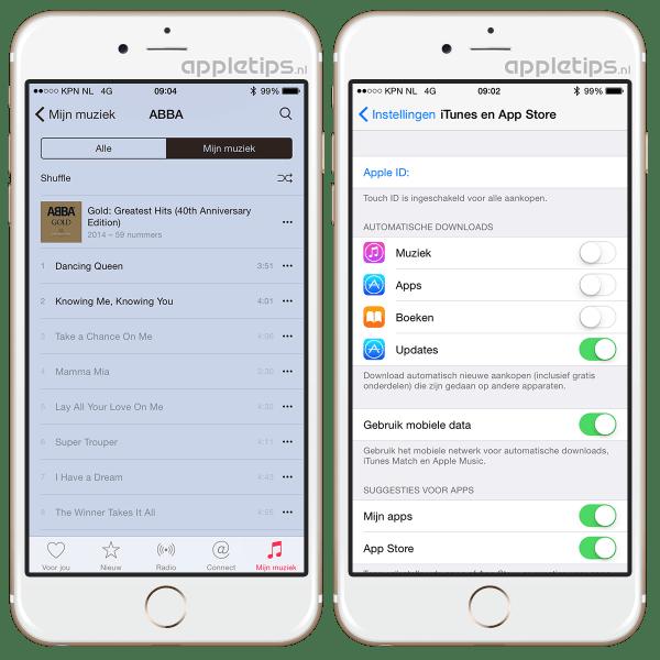 Apple Music afspelen mobiel