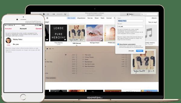 apple music bijnaam aanpassen