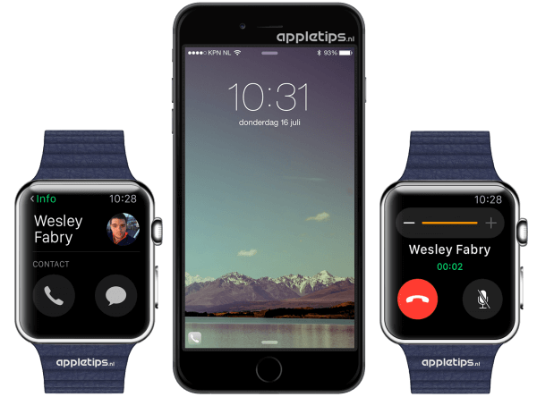 telefoon op Apple Watch