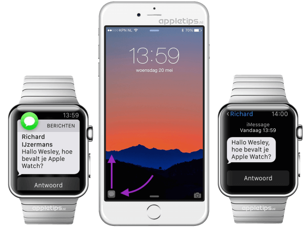 handoff tussen iPhone en Apple Watch