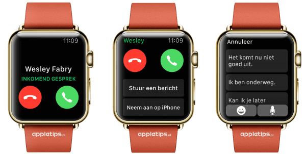 inkomend gesprek Apple Watch