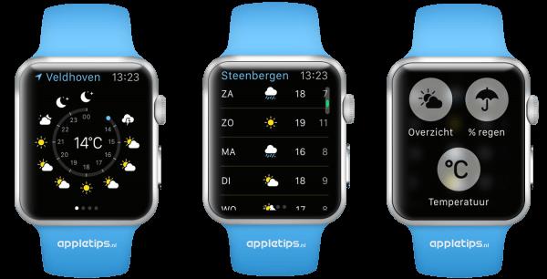 weer app op de Apple Watch