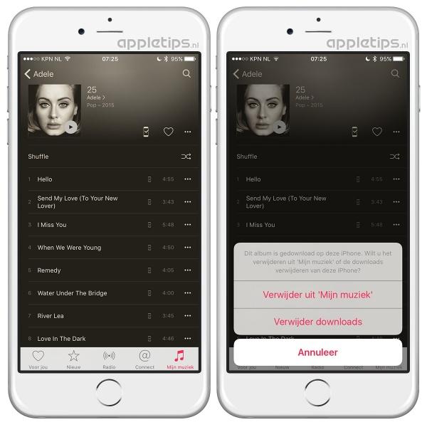 Muziek verwijderen Apple music