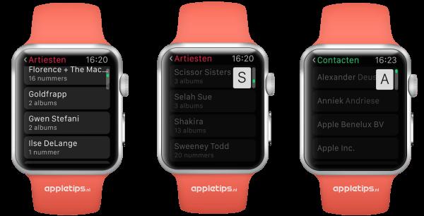 sneller scrollen Apple Watch