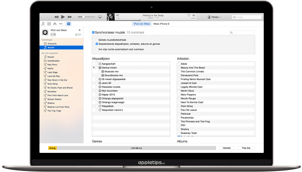 ipod synchronisatie Apple Music