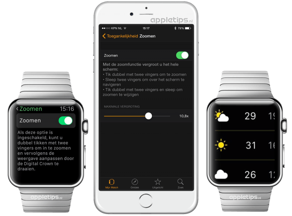 zoomen op Apple Watch