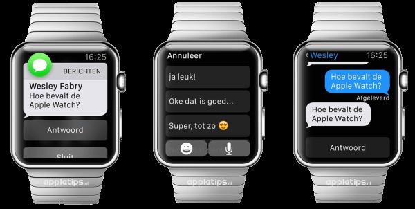 berichten antwoorden Apple Watch