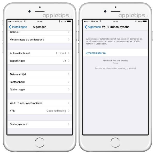 iTunes synchronisatie iOS