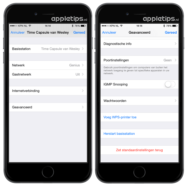 Airport herstarten iOS