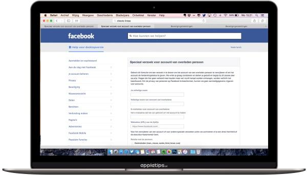 overlijden facebook formulier