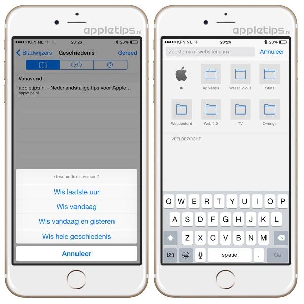veel bezocht wissen in iOS