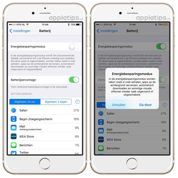 Energiebesparingsmodus batterij op iPhone