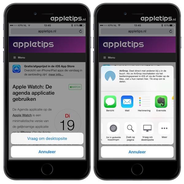 Desktopsite opvragen in iOS 9