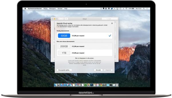 iCloud opslag wijzigen osx
