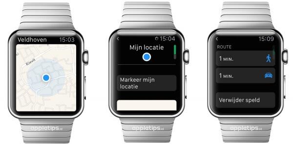 huidige locatie Apple Watch