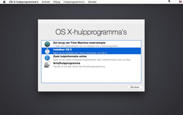 cmd⌘ R opnieuw installeren OS X