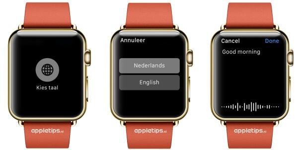 Taal kiezen bij dicteren Apple Watch