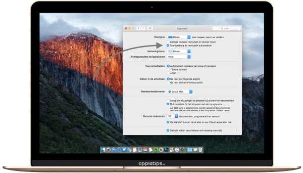 Menubalk verbergen in OS X