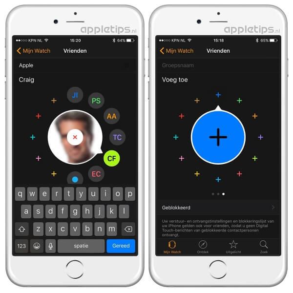 Vrienden beheren Apple Watch app
