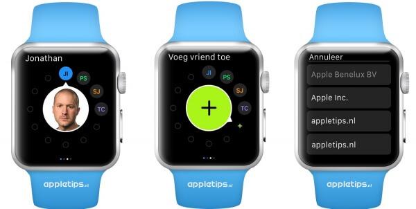 vrienden vanaf Apple Watch