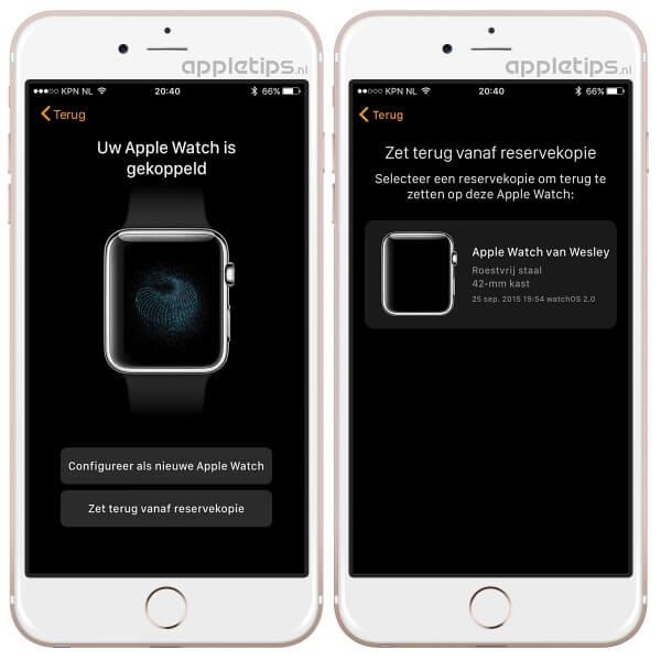 zet reservekopie terug Apple Watch