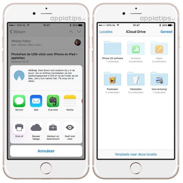 bijlagen bewaren iOS 9