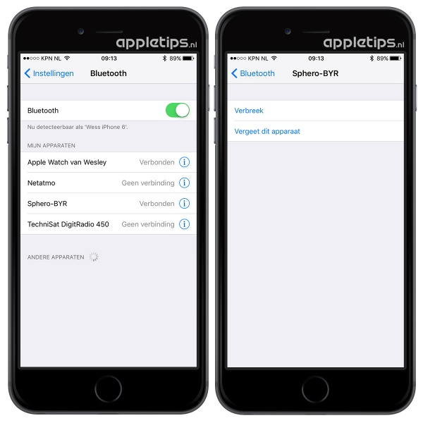 bluetooth verbreken in iOS 9