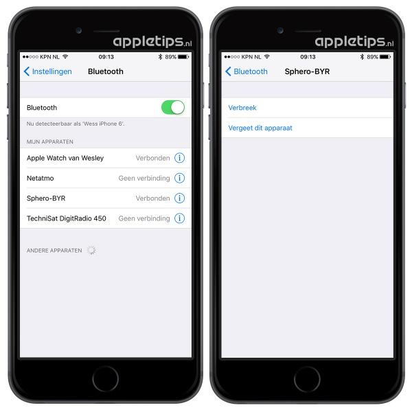 bluetooth verbreken in iOS 9