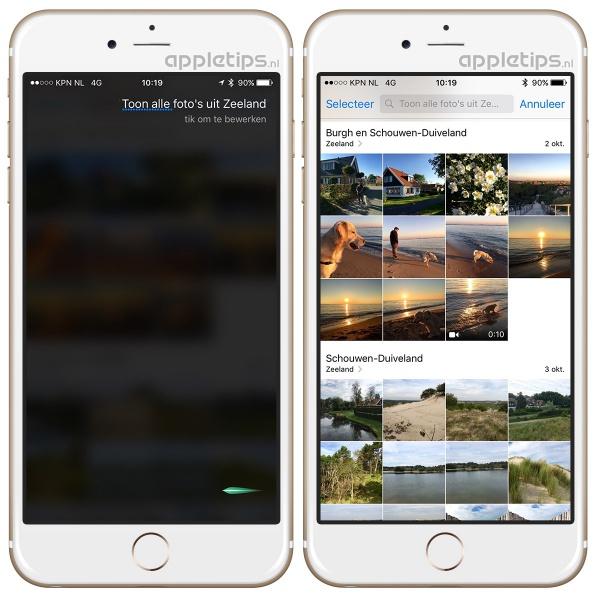 Foto's zoeken met Siri