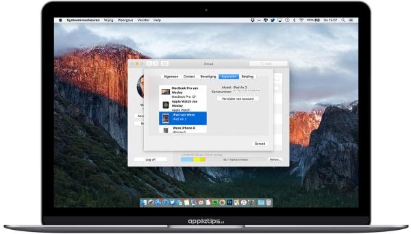iCloud apparaten bekijken El Capitan