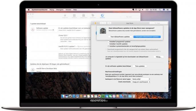 macOS beta verlaten en afmelden