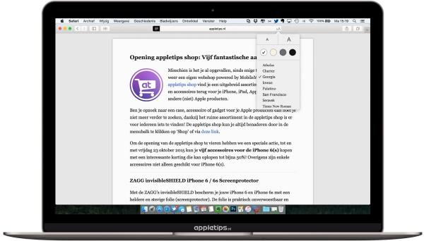 Safari reader El Capitan