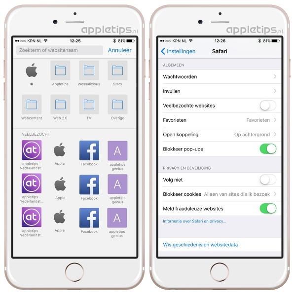 veelbezochte website uitschakelen in iOS