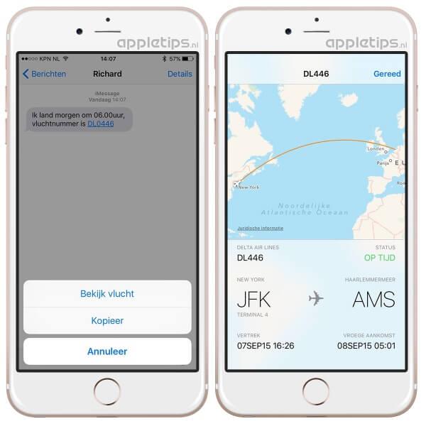 Vluchtnummer opvragen in iOS 9