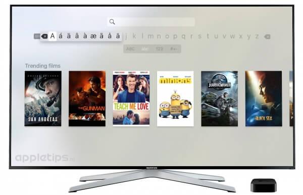 zoeken via Apple TV 4 toetsenbord