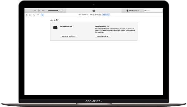 Apple TV 4 herstellen via iTunes